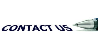 Contact Us Note And Ball Pen On White Royalty Free Stock Photos