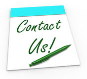 Contact Us! Notebook Means Online Support Or Stock Photo