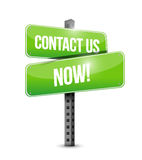 Contact us now street sign illustration design Royalty Free Stock Photos