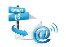 Contact us online email sign vector illustration