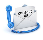 Contact us page in white envelope and blue handset Stock Photo