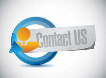 Contact us people cycle sign concept Stock Photos