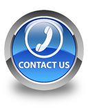 Contact us (phone icon) glossy blue round button Stock Photos