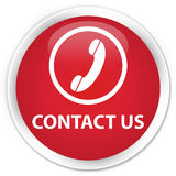 Contact us (phone icon) premium red round button Stock Photo
