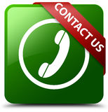 Contact us phone icon round border green square button. Reflecting shadow with red ribbon in corner Royalty Free Stock Photos