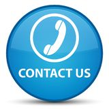 Contact us (phone icon) special cyan blue round button Stock Photography