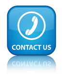 Contact us (phone icon) special cyan blue square button Royalty Free Stock Photos