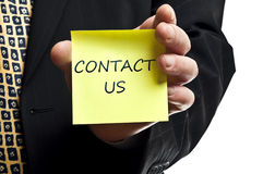 Contact us post it Stock Photo