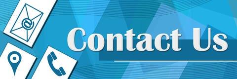 Contact Us Random Shapes Blue Background Royalty Free Stock Image