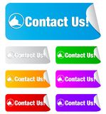 Contact us, rectangular shape stickers Royalty Free Stock Photo