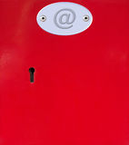 Contact us red post office boxes with email. Single red post office contact us box with email sign stock photos