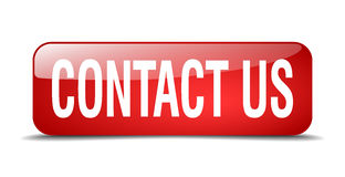 Contact us red square web button. Contact us red square 3d realistic isolated web button Stock Photos