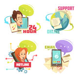 Contact Us Retro Cartoon Compositions. With customer service 24 hour support online hotline email isolated vector illustration Stock Photos