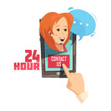Contact Us Retro Cartoon Illustration Stock Photo
