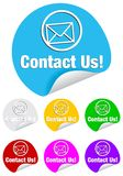 Contact us,round stickers Royalty Free Stock Images