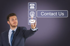 Contact Us on Screen Stock Photo