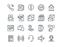 Contact us. Set of outline vector icons. Includes such as Operator, Support, Social and other. Editable Stroke. 48x48. Pixel Perfect Royalty Free Stock Image