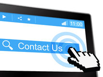 Contact Us Shows Send Message And Communicate Stock Image