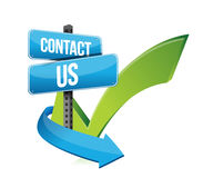 Contact us at sign and checkmark Stock Photography