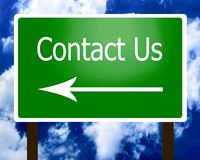 Contact Us sign guidepost LEFT Royalty Free Stock Photography