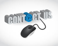 Contact us sign and mouse illustration design Stock Images