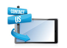 Contact us sign and tablet Stock Photos