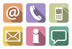 Contact us six icons set Royalty Free Stock Photos