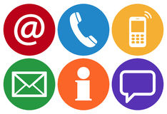 contact us six icons set Royalty Free Stock Photography