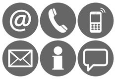 contact us six icons set Stock Image