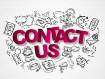 Contact us sketch icons composition. Contact us phone customer service user support sketch icons composition vector illustration Royalty Free Stock Images