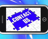 Contact Us On Smartphone Showing Online Assistance Stock Photos