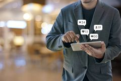 Contact us sms media man use smart phone social media network. Pop notification icons Royalty Free Stock Photos