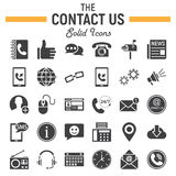 Contact us solid icon set, web button signs Stock Photo