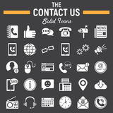 Contact us solid icon set, web button signs Stock Image