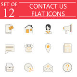 Contact Us solid icon set, Web Communication signs Stock Photos
