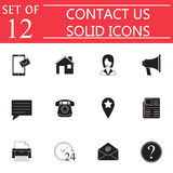 Contact Us solid icon set, Web Communication signs Royalty Free Stock Image