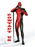 Contact us superhero helpline Stock Photo