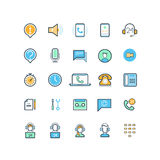 Contact us and support line icons Stock Images