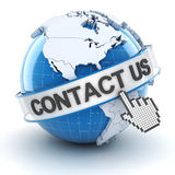 Contact us symbol with globe, 3d render. White background Stock Image