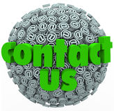 Contact Us @ Symbol Sphere Customer Feedback Comments. The words Contact Us on a sphere of at or email @ symbols to illustrate customer feedback, comments Royalty Free Stock Photo