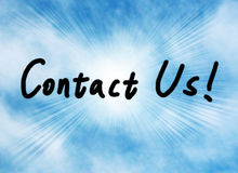 Contact us!. Text 'CONTACT US!' on blue sky background. Showing Contact Us royalty free stock photo