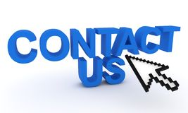 Contact us text with cursor mouse Stock Photos