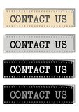 Contact us - cdr format. The text contact us on filmstrip of different colours Stock Image