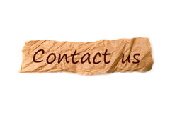 Contact us title on piece of paper Stock Image