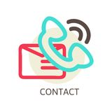 Contact us vector icon - e-mail and phone Royalty Free Stock Photos