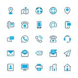 Contact Us Vector Icons. Communication Line Flat Icons Set. Royalty Free Stock Photos