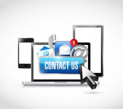 Contact us via electronics illustration Royalty Free Stock Image