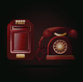 Contact us! Vintage phone and postbox Stock Photography