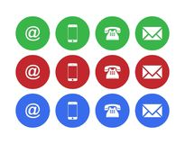 Web Contact Us Buttons with 3 color. Contact us web buttons set with email, at, telephone and mobile icons on blue silver badge vector EPS 10 illustration on Royalty Free Stock Photography