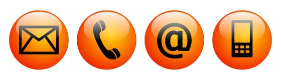 Contact us web buttons red orange Stock Image